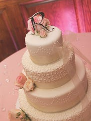 A wedding cake by Cakes by MooShu.