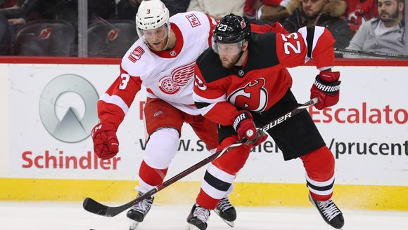 New Jersey Devils right wing Stefan Noesen (23) plays