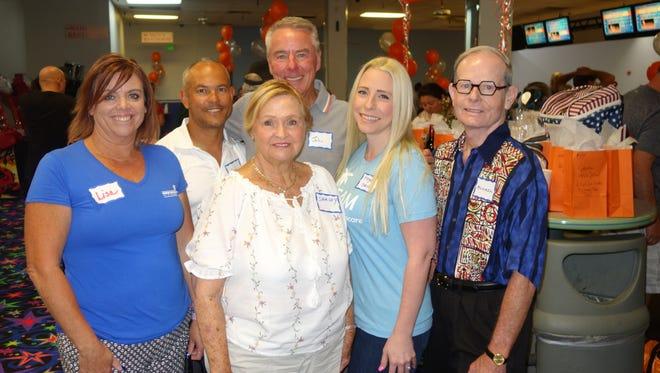 Bowling fundraiser sponsors (back) Cat Moe and John Nelson. Front (L) Lisa Karr, Shirley Pringle, Megan Guerra, Michael H. Hayes.