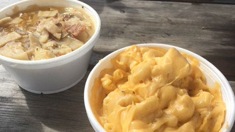 Cafe 66's swamp cabbage (left) and macaroni and cheese.