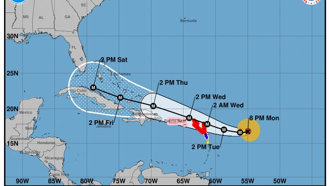 Forecast cone for Hurricane Irma as of 8 p.m. Monday, Sept. 4, 2017.