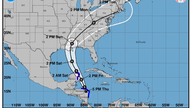 Tropical Storm Nate's projected path as of 5 p.m. Thursday.