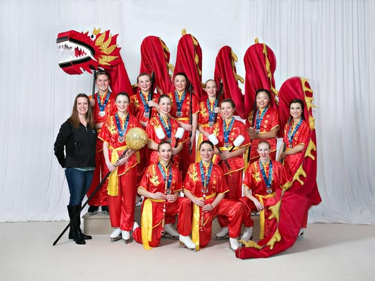 Gold entertainment team, Chinese Dragon Dance, coached by Alysia Seliger, placed first out of four teams. As pictured, the skaters were: Back row: Timothy Zupanc, Cassandra Kopf, Maddy Rogers, and Jenna Schneider; Middle row: Coach Alysia Seliger, Katie Leick, Ashley Cherney, Claire Schecklman, Caitlyn Christensen, and Mariah Nelles; and those kneeling are Laurel Siegel, Jenna Asplin, and Hanah Gadke.