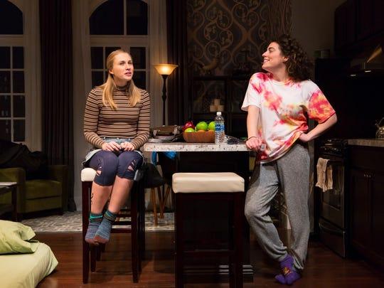 "Maddie Jo Landers (left) and Laura Lapidus in ""Bad Jews"" at George Street Playhouse."
