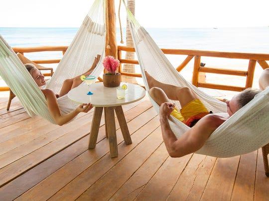 Deck hammocks at Mahekal Beach Resort