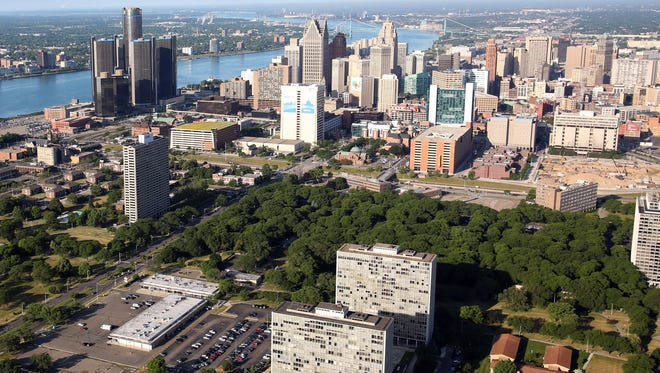 Aerial view of Lafayette Park in downtown Detroit, The Renaissance Center and the Detroit River on June 14, 2012.