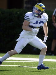 Delaware defensive back Pat Crowley drops into coverage