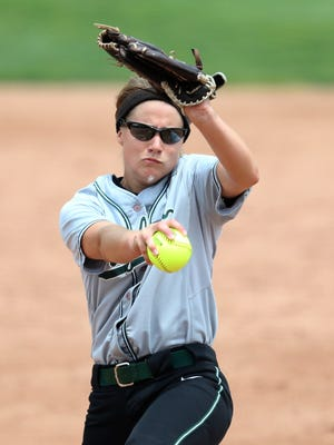 Wayland Union's Mallory Teunissen pitches in the Division @ MHSAA state semifinal  game on Thursday. Wayland won the Division 2 title Saturday with a 11-0 win over Frankenmuth.
