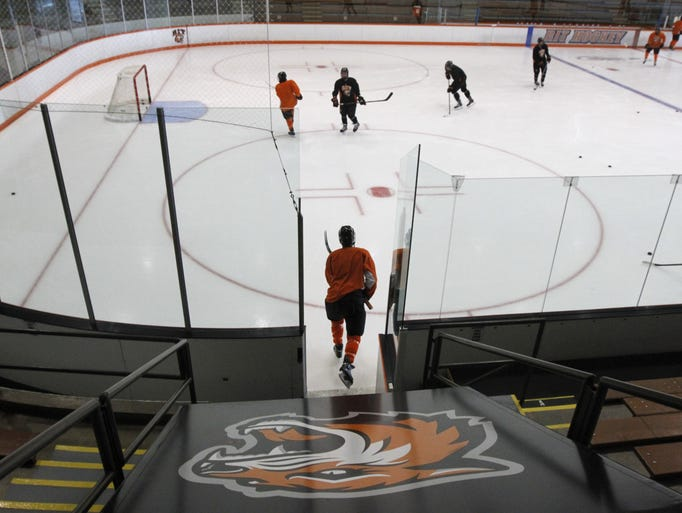 RIT forward Brad McGowan hits the ice for the start of a Tigers' practice.