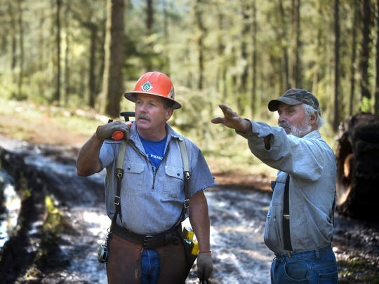 Tree farmer Robin Milller, right, gives cutting instructions to longtime friend, timber faller Ed Fortner.