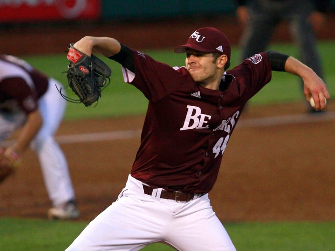 Missouri State Bears starting pitcher Andy Cheray delivers a pitch to the plate as the Bears take on the Mizzou Tigers at Hammons Field on Tuesday, April 15, 2014.
