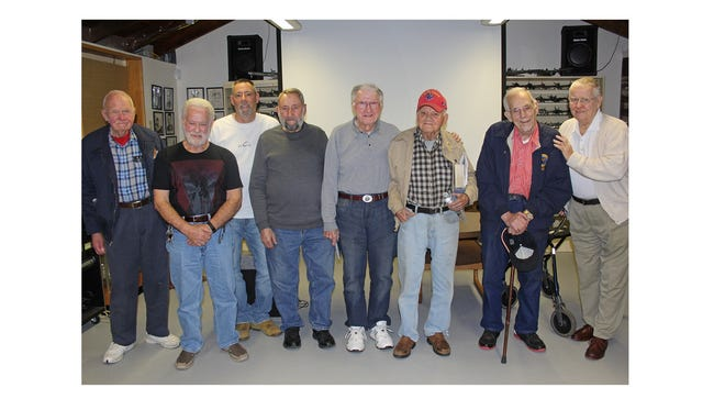 Veterans who attended Movie Night on March 8 at Millville Army Air Field Museum are (from left): Ron Frantz of Millville, U.S. Army during the Cold War, 1956-58; Jack Adams of Vineland, U.S. Marines during the Vietnam War, 1963-64; Keith Rafine of Dorchester, U.S. Air Force Reserves during Desert Storm, 1985-1993; Martin Rafine of Dorchester, U.S. Navy during the Korean War, 1952-56; Walter Kocielski, U.S. Marine Corps during World War II, 1944-47; Ed Birnstiel of Millville, U.S. Navy during World War II, 1941-45; Ed Turner of Leesburg, U.S. Navy during World War II, 1942-46; and Dick Lownes of Harleysville, Pa., U.S. Army during the Korean War, 1951-53.