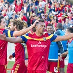Jordan Allen, center, celebrates his first career MLS goal, which gave Real Salt Lake a 2-1 on March 28.