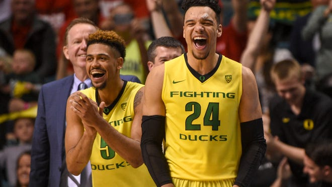 Oregon's Tyler Dorsey, left, and Dillon Brooks celebrate during the championship game of the 2016 Pac-12 tournament.