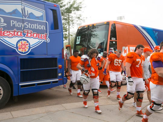 Clemson arrives for practice at Scottsdale Community College in Scottsdale on Wednesday, December 28. 2016. Clemson plays Ohio State in the Fiesta Bowl on December 31, 2016.