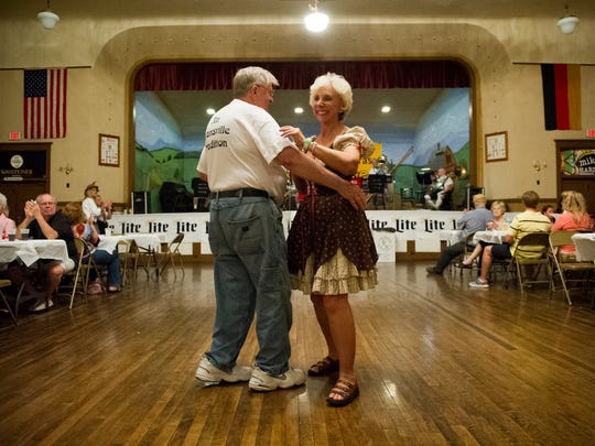 While Stiftungsfest isn't as big as Volksfest, there will still be German food and dancing for attendees. Ron and Norma Faust, of Evansville, dance as the Rhein Valley Brass band plays during Germania Maennerchor Volksfest last year.