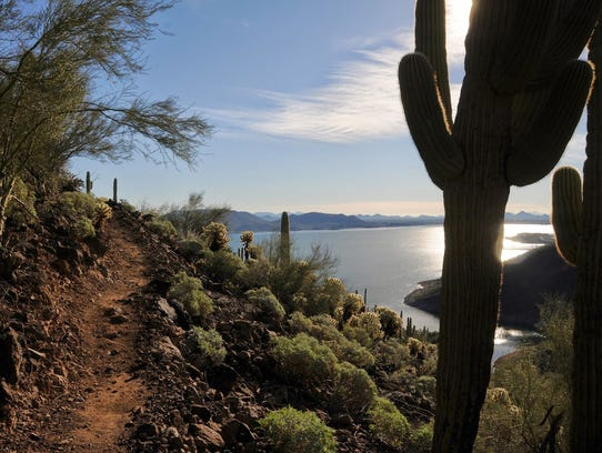 Yavapai Point Trail snakes along Lake Pleasant, providing