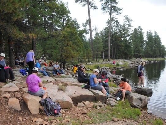 Members of the Arizona Hiking Group take a break at