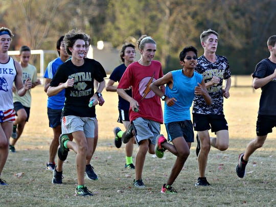 Central Magnet's boys cross country team practices for Saturrday's state meet.