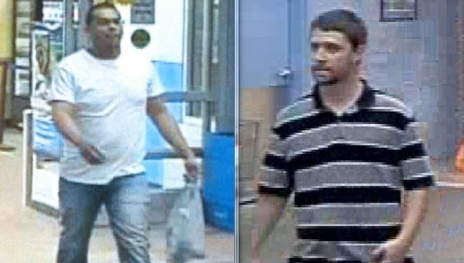 Surveillance photos of two suspects in recent graffiti done in Sioux Falls.