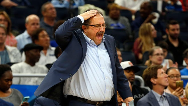 Pistons head coach Stan Van Gundy reacts against the Magic during the second half of the Pistons' 115-87 loss Friday in Orlando, Fla.