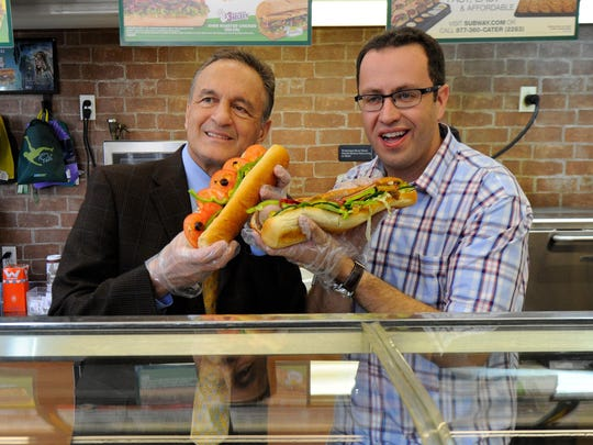 Robert Deutsch, USA Subway founder Fred DeLuca, left, and Jared Fogle, the chain's pitchman for 15 years, make subs in 2014. Fogle was fired after being charged with child pornography and traveling to have sex with minors.Photo by Robert Deutsch, USA TODAY staff ORG XMIT: RD 130997 Fred DeLuca, fou 5/6/2014 [Via MerlinFTP Drop]