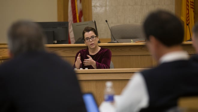 Judge applicant Sarah Weaver is seen in this file photo answering questions during an interview with members of the Eleventh Judicial District Judicial Nominating Commission on Thursday, Jan. 25, in the Eleventh Judicial District Courthouse in Farmington.