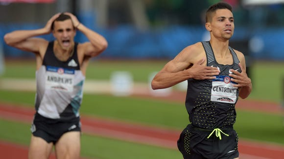 Jul 10, 2016; Eugene, OR, USA; Matthew Centrowitz (right) wins the men's 1500m final as Robby Andrews (left) reacts in the 2016 U.S. Olympic track and field team trials at Hayward Field. Mandatory Credit: Glenn Andrews-USA TODAY Sports