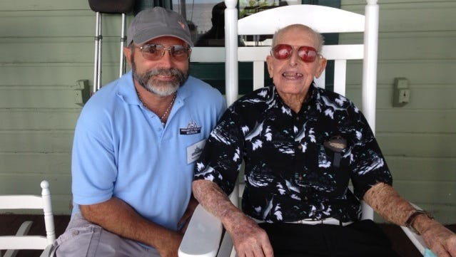 Historian and writer Patrick Mesmer enjoyed swapping tales of early Martin County with artist Curt Whiticar on the front porch of the House of Refuge Museum, August 2016. See Curt's paintings currently on display at the House of Refuge.