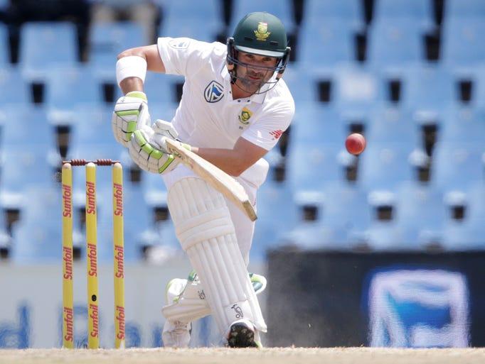South Africa's batsman Dean Elgar plays a shot during