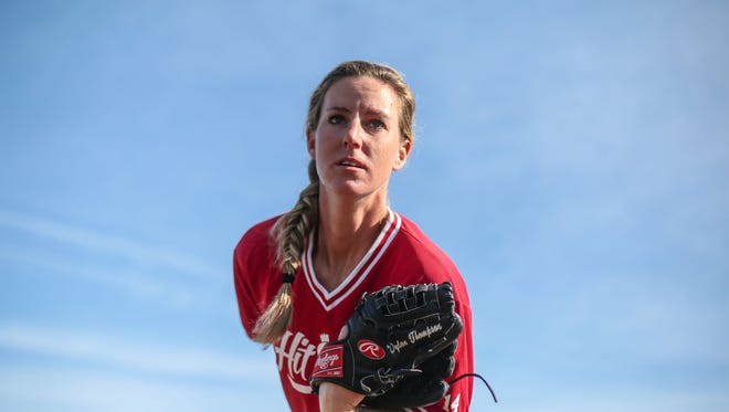 Katie Griffith is the only woman playing in the California Winter League with her team, the Hit King Tuesday, January 31, 2017 in Palm Springs. She is a pitcher for the team.