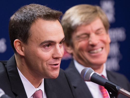 Philadelphia Phillies general manager Matt Klentak, with owner John Middleton in the background in a 2015 photo.