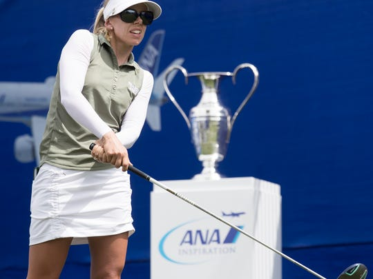 Pernilla Lindberg plays in the final round of the 2018 ANA Inspiration golf tournament at Mission Hills Country Club in Ranch Mirage, California on April, 1, 2018. Inbee Park, Jennifer Song and Pernilla Lindberg were part of a playoff round after having tied in the final round.