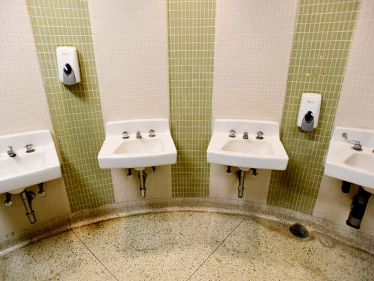 The woman's bathroom in the RiverView Theater will