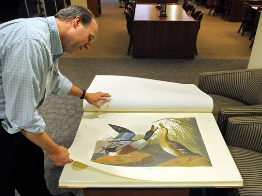 """St. Cloud State University archivist Tom Steman displays one of the school's facsimile copies of """"The Birds of America"""" by John James Audubon before a ceremony Oct. 16 at the James W. Miller Learning Resources Center."""