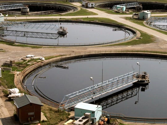 Twelve large clarifiers sits on the property of the
