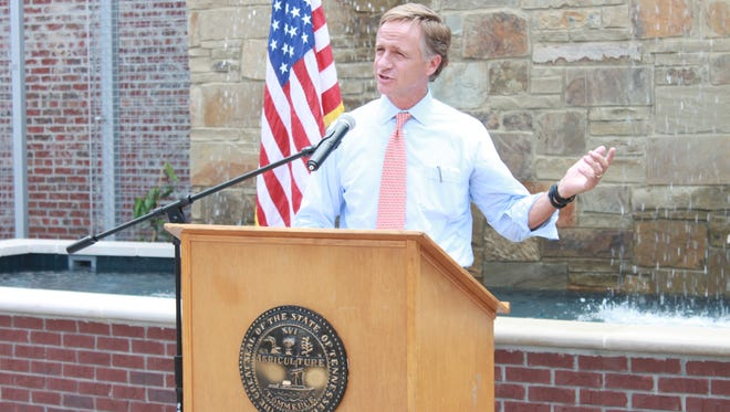 Tennessee Gov. Bill Haslam announces a transportation alternative grant to Brownsville Wednesday at Tamp Park.