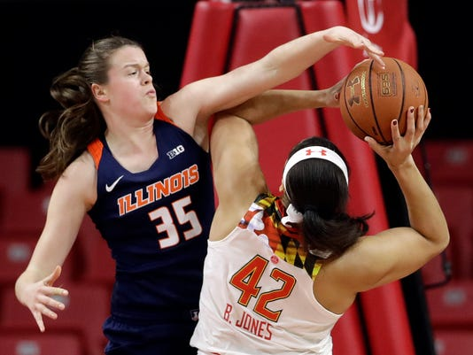 Illinois forward Alex Wittinger, left, fouls Maryland center Brionna Jones as Jones shoots during the first half of an NCAA college basketball game, Thursday, Feb. 9, 2017, in College Park, Md. (AP Photo/Patrick Semansky)