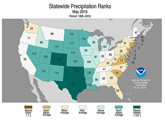 States in dark green had their wettest May on record;