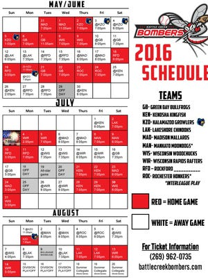 The 2016 Battle Creek Bombers Northwoods League schedule.