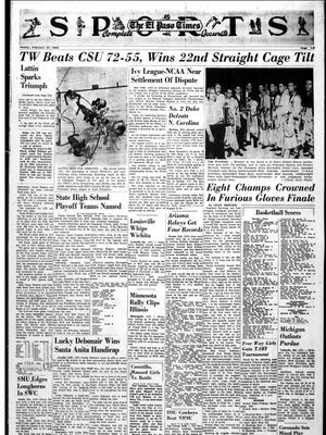 Sports front page that ran on Feb. 27, 1966.