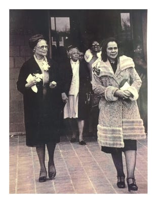 Omega M. Jones Frazier, left, escorts Coretta Scott King to a speaking engagement at UMES on Feb. 25, 1978. The late Mrs. Frazier is the mother of former WBOC anchorman Bill Jones.