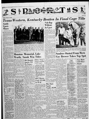 Sports page of the El Paso Times on March 6, 1966. This is the first and only game the Texas Western Miners would lose in the 65-66 season.
