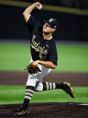 Vanderbilt pitcher Matt Ruppenthal (28) pitches during the eighth inning against Washington in a NCAA Regional baseball game at Hawkins Field, Saturday, June 4, 2016, in Nashville, Tenn.