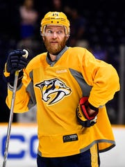 Nashville Predators defenseman Mattias Ekholm (14)
