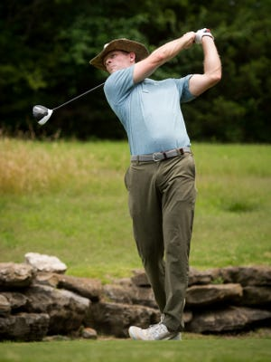 James Driscoll watches his drive on the 13th hole during the the Nashville Golf Open at the Nashville Golf and Athletic Club in Brentwood, Tenn., Thursday, June 29, 2017.