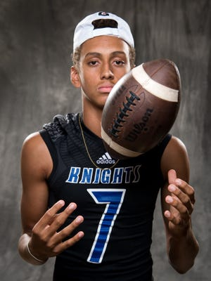 Nolensville's Brandon Wharton poses for a portrait during Williamson County's football media day at the Centennial High School in Franklin, Tenn., Monday, July 17, 2017.