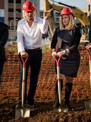 Sir. Richard Branson stand next to Mayor Megan Barry