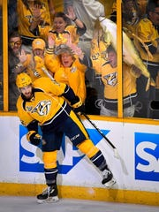Predators center Frederick Gaudreau celebrates after scoring in the second period of Game 3 of the Stanley Cup Final on Saturday. Predators center Frederick Gaudreau (32) celebrates after scoring in the second period of Game 3 of the Stanley Cup Final on Saturday, June 3, 2017.