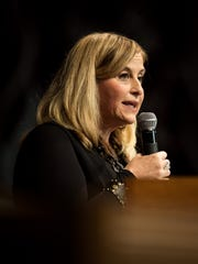 "Mayor Megan Barry addresses concerns about affordable housing during the Nashville Organized for Action and Hope's ""Speak Loudly, Nashville!"" event at The Temple Church in Nashville, Tenn., Sunday, Oct. 29, 2017."